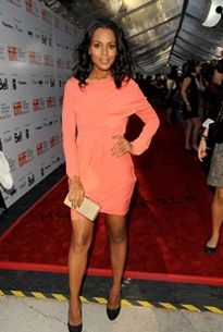 Kerry Washington rocking a coral colored dress- one of the season's hottest colors.