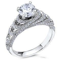 14kt White Gold (H/SI) Ladies Engagement Ring From the The Crown Collection by Scott Kay | www.goldcasters.com