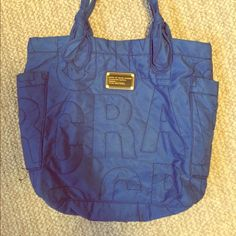 Marc by Marc Jacobs medium quilted bag From the Marc by Marc Jacobs 2013 collection; medium quilted nylon tate shoulder bag; can fit a laptop, two notebooks and a planner very comfortably; stunning peacock blue Marc by Marc Jacobs Bags Shoulder Bags