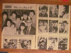 Donny Osmond and the Osmonds, Brothers, Two Page Vintage Clipping Donny Osmond, Marie Osmond, Merrill Osmond, Osmond Family, The Osmonds, Family Boards, Vintage Clip, Teenage Years, Black And White Pictures