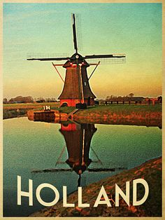 Vintage Holland Windmill Poster By Flo Karp