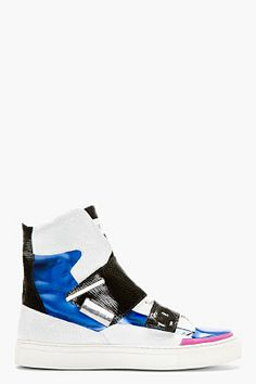 Raf Simons Blue & White Etched Leather Hi-top Sneakers for men | SSENSE