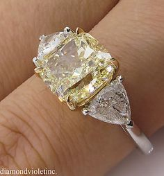 GIA 4.50ct Estate Vintage Fancy Yellow Cushion 3 Stone Engagement Wedding Platinum/ 18k Yellow Gold Ring
