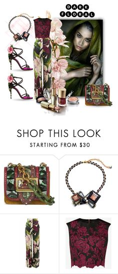 """""""Dark Florals"""" by neverboring on Polyvore featuring Burberry, Nocturne, Erika Cavallini Semi-Couture, Ted Baker and Dolce&Gabbana"""
