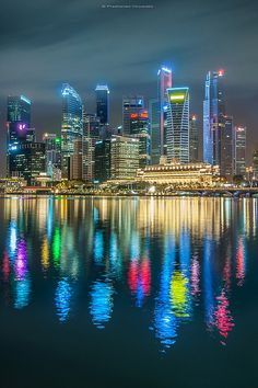 Singapore: The Marina Bay waterfront at night. i love Singapore. Places Around The World, Oh The Places You'll Go, Places To Travel, Places To Visit, Around The Worlds, Beautiful World, Beautiful Places, Singapore Photos, Singapore Singapore