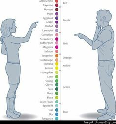 """Do Men and Women See Colors Differently?    The answer is, """"Yes,"""" at least for about half of women. Around half of them are tetrachromatic, which means they have 4 types of cone receptors instead of the usual 3 (trichromatic). They can actually see more colors. For example, in a rainbow, trichromatics can see 7 colors: red, orange, yellow, green, blue, indigo and violet. But tetrachromatics can distinguish 10. [2/8/2007] I Smile, Make Me Smile, Artist Problems, Man Vs, Color Theory, Just In Case, I Laughed, Laughter, Haha"""