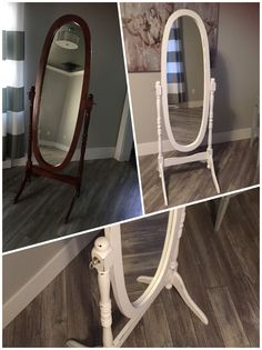 Adding life to a mirror- painted in white chalk paint and distressed