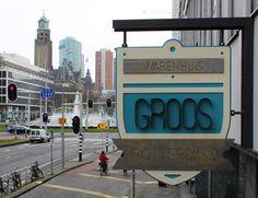 """outdoor wood & steel sign by Ernst Kühne Meubelmaker & Romy Kühne Design for """"Groos Rotterdam"""""""