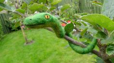 Fuzzy+Needle+Felted+Snake++Posable+Green+by+MischiefsManifold,+£11.00