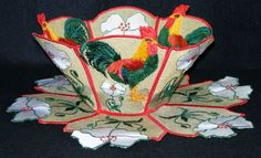Lace Bowl & Doily - Roosters Roosters and Flowers surrounded with a touch of French Country Kitchen. You can make a bowl all roosters, all flowers or just one majestic rooster placed in front. The bowl comes in three sizes and coordinates with More Roosters!