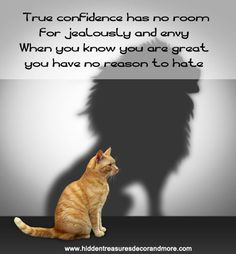 True confidence has no room for jealousy and envy. When you are great, you have no reason to hate.