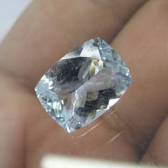 4.1 Cts 12.3x9.3x5.8 mm Cushion Shape VS Light Blue Aquamarine Natural Cut Stone #Unbranded
