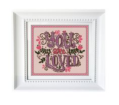 """Modern Cross stitch pattern QUOTE """"You are loved"""" Instant PDF Download, Cross Stitch Chart, Embroidery Needlework"""