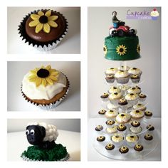 """Regular sized lemon curd cupcakes and mini sized chocolate cupcakes with sunflower decorations. 6"""" cutting cake decorated with buttercream and hand modelled fondant sheep and farmer on quad bike."""