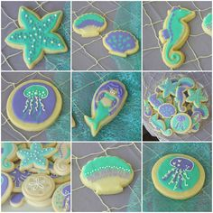 Mermaid and Under the Sea Sugar Cookies | The Littlest Mermaid | A Sparkly Teal and Purple First Birthday Party | these little loves blog