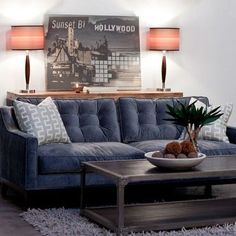 slate sectional sofa | tufted slate blue sofa} velvet fabric! looks so comfy. / For the home ...