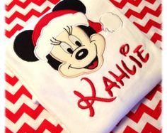 Minnie Mouse Christmas Applique Shirt Disney Shirt