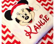 Minnie Mouse Christmas Applique Shirt Disney Shirt