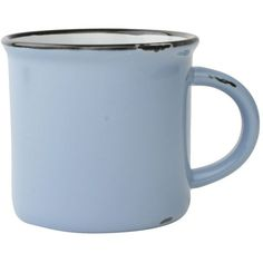 Canvas Home LLC Tinware Ceramic Mugs, Set Of 4 In Cashmere Blue Light... ($48) ❤ liked on Polyvore featuring home, kitchen & dining, drinkware, mugs, coffee & tea cups, ceramic stoneware, blue mug, set of 4 mugs, mini tea cups and miniature tea cups