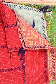 """One of a Kind Kantha Embroidered Throw - 55"""" x 85"""""""