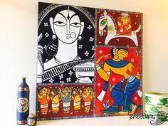 'A Tribute to Jamini Roy' Acrylic on canvas by Pratibha Madan @preetkriti
