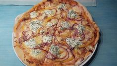 Homemade Pizza salmon and Red onions