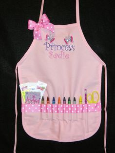 PERSONALIZED Light Pink Purly Princess Design Child's Craft Apron  Free Shipping. $34.95, via Etsy.