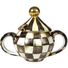 MacKenzie-Childs Courtly Check Sugar Bowl with Lid ($300) ❤ liked on Polyvore featuring home, kitchen & dining, serveware, mackenzie-childs, mackenzie childs sugar bowl and lidded sugar bowl