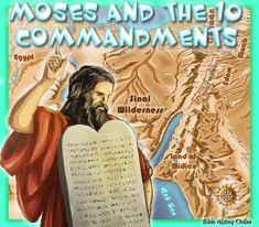 Moses and the 10 Commandments - Kids Bible Maps Bible Verses For Kids, Bible Study For Kids, Kids Bible, 10 Commandments Kids, Geography For Kids, Bible Mapping, Catholic Bible, Free Bible Study, Moise