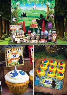 A Snow White Birthday Party with Wishing Well water, a naked cake with Nutter Butter acorns, chocolate jewels & dirty dishes + apple party favor boxes