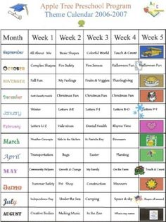 Apple Tree Preschool & Child Care - Current Theme Calendar: