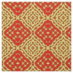 Shop Oriental Red & Yellow Mosaic Geometric Pattern Fabric created by Kristina_Lj. Oriental Print, Pattern Fabric, Consumer Products, Tribal Rug, Custom Fabric, Tea Towels, Crafts To Make, Accent Decor
