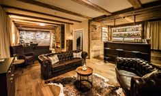 Montfort Lodge - luxury ski chalet in St Anton exclusively run by Kaluma Ski. 13 bedroom, centrally located chalet, sleeps up to Group ski holidays. Bedroom With Ensuite, Double Bedroom, Living Area, Living Spaces, Living Room, St Anton, Luxury Ski Holidays, Stone Interior, Jacuzzi Outdoor