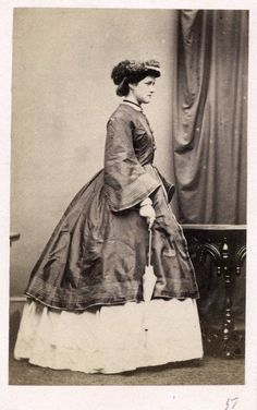 CDV, 1860's, Lady Margaret Bouverie, holding parasol, ornatedly decorated hat, coat.