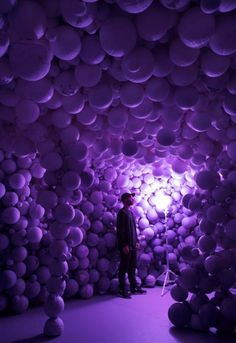 American artist and designer Daniel Arsham has created a cave from purple spheres as part of his first solo exhibition in New York
