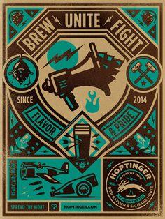 ¿Que les parece esta serie de 4 carteles que ilustróKendrick Kiddpara elHoptinger Pub, un bier garden ubicado en la ciudad deJacksonville?[button color=