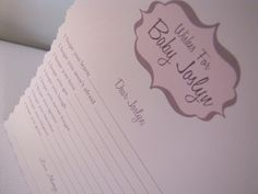Wishes for Baby Cards for guests to fill out.  Loved this at my cousin's shower :)
