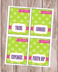 Fiesta Party Food Label Tent Cards. $6.50, via Etsy.