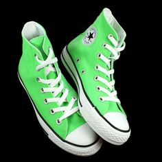 c90dd25b85dd I want some neon green high top Converse so bad!! Green Converse High Tops