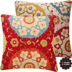 "Amazon.com: Fiesta Infusion Collection - Richloom Cornwall Designer Boutique 18"" Square Throw Pillow Cover - Flowers, Circles and Leaves - Gold, Tan, Teal, Rose, Golden Ochre, Olive, Orange and Red Hues - 1 Pillow Cover: Home & Kitchen"