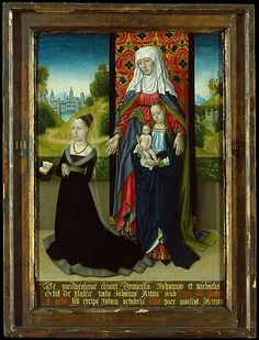 1479-1482 Anna van Nieuwenhove Presented by Saint Anne  Master of the Saint Ursula Legend  (Netherlandish, active late 15th century) The companion and wife of Jan and [sic] Michiel van Nieuwenhove, born Anna, daughter of Johannes de Blasere, died in 1480, minus iota [1479], the 5th of October; may she rest in peace. Amen)