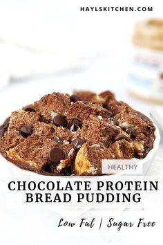 A rich and indulgent but skinny Chocolate Protein Bread Pudding you definitely need to try! Healthy, low calorie single serve chocolate bread pudding uses protein powder, has no egg and no cream; Perfect for a breakfast, dessert or post workout! Baking With Protein Powder, Protein Powder Recipes, Chocolate Protein Powder, High Protein Recipes, Healthy Chocolate, Chocolate Bread Pudding, Chocolate Custard, Protein Desserts, Protein Snacks