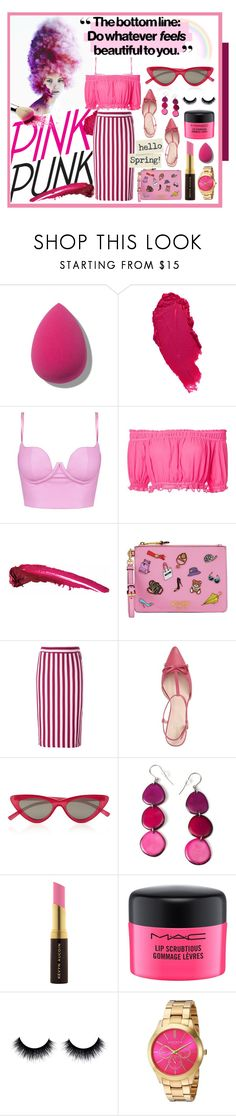 """""""Pink Punk - with a hint of feminine charm"""" by mf-fashion-and-styling-perth ❤ liked on Polyvore featuring Apiece Apart, Moschino, House of Holland, Kate Spade, Le Specs, Encanto, Kevyn Aucoin, MAC Cosmetics and Akribos XXIV"""