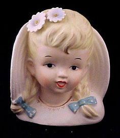Country Girl Head Vase Planter Enesco