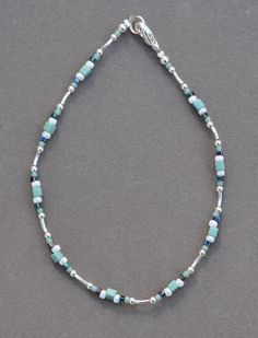 Jewelry - Anklets - Aqua and Silver Anklet by JewelryArtByGail on Etsy - SOLD
