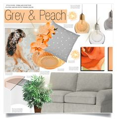 """""""Grey and Peach"""" by captainsilly ❤ liked on Polyvore featuring interior, interiors, interior design, home, home decor, interior decorating, Bower, Pottery Barn and Nearly Natural"""