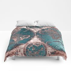 Buy Antique World Map Pink Quartz Teal Blue by Nature Magick Comforters by naturemagick. Worldwide shipping available at Society6.com. Just one of millions of high quality products available.