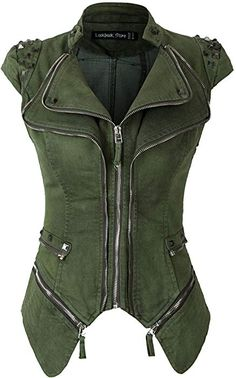 Item Specifics: * Available Color: Army Green * Material: Cotton Blend * Full Lined * Detailing * Sleeveless * Slight Stretch * Hand Wash * Occasion: Casual, Club, Evening, Party Measurement US … Punk Outfits, Fashion Outfits, Womens Fashion, Fashion Tips, Fashion Design, Fashion Videos, Fashion Goth, Fashion 2017, Fashion Trends