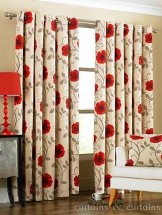 Cream Red Poppies Ring Top Eyelet Lined Curtain