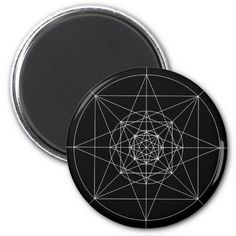 Third Dimensional Sacred Geometry 2 Inch Round Magnet